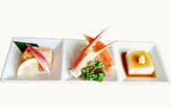 秋の味覚と名物ごま豆腐の三点盛り