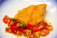 秋鮭の唐揚 洋風トマトソース添え
